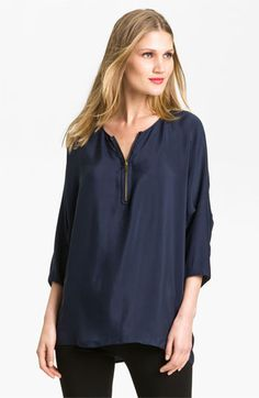 Vince Zip Front Silk Top available at #Nordstrom