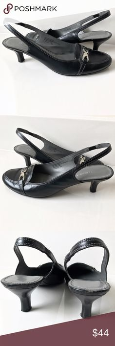 Etienne Aigner Black Slingback Shoes Heels 8 They're in very good condition! Leather upper and man made sole. The heel height is approximately 2 inches. Etienne Aigner Shoes Heels
