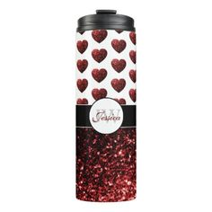 Shop Glam Red Glitter sparkles Heart pattern Monogram Thermal Tumbler created by PLdesign. Vinyl Tumblers, Custom Tumblers, Glitter Tumblers, Valentines Day Bags, Thermal Bottle, Tumbler Designs, Silhouette Cameo Projects, Tumbler Cups, Red Glitter