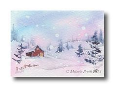 ACEO Winter Cabin Snow Christmas ORIGINAL by TheCreatorsPalette, $10.00