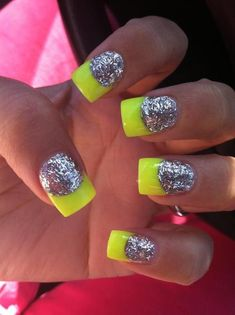 25 Trendy Neon Nail Art Designs - World inside pictures Neon Nail Art, Neon Nails, Love Nails, Glitter Nails, My Nails, Silver Glitter, Neon Yellow Nails, Sparkly Nails, Summer Nails