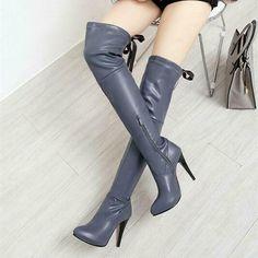 Sexy Damen High Heel Overkneestiefel Party PU Leder Schuhe Abend Stiefel 32-46