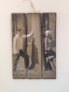 5th Anniversary Wedding Wood Sign Personalized Photo Gift Fifth Engagement Pallet Pine