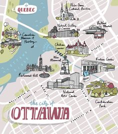 A map of Ottawa for Harry Magazine. Ottawa Canada, Montreal Canada, Cross Canada Road Trip, Plan Ville, Toronto, University Of Ottawa, America City, Bullet Journal Travel, Travel