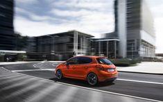 تحميل خلفيات بيجو 208, 2018, مدينة السيارات, الخارجي, جديد البرتقال 208, السيارات الفرنسية, بيجو