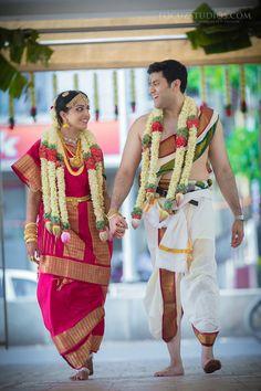 TamBrahm Wedding Across an Atlantic Ocean, Bhargav and Sweta Bridal Sarees South Indian, South Indian Weddings, Indian Bridal Fashion, South Indian Bride, Wedding Dress Men, Wedding Couples, Wedding Stage, Wedding Ideas, Tamil Wedding