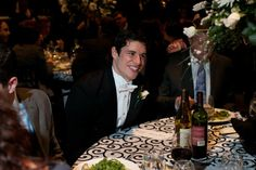 Pittsburgh Penguins player Sidney Crosby jokes around with his table at the Skates and Plates event at CONSOL Energy Center.