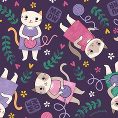 Playful Kittens pattern by Anita Kingsley | Candytree