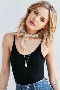 Bandana choker with long necklace