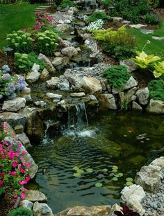 It's not difficult to create a waterfall pond feature rather than the conventional pond. With this small waterfall pond landscaping ideas you will inspired to make your own small waterfall on your…MoreMore Sloped Backyard, Backyard Water Feature, Ponds Backyard, Backyard Waterfalls, Garden Ponds, Koi Ponds, Backyard Ideas, Big Backyard, Backyard Stream