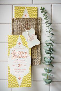 wedding invitations in a burlap envelope, photo by Rebecca K Photography http://ruffledblog.com/the-notwedding-boston #invites #stationery #weddinginvitations