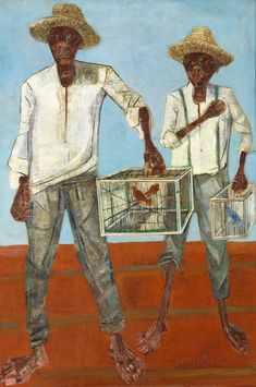 "huariqueje: "" Vendedor de passarinhos , The Bird seller - Candido Portinari , 1959 Brazilian 1903-1962 Oil on wood, 156 x 105 cm. Museu De Arte Moderna Da Bahia. """