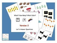 This is an adapted work to practice identifying the attributes of what, the number, and the color of a group of items. by theautismhelper.com