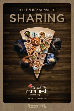 Crust pizza focuses on all the senses - Mumbrella Food Graphic Design, Food Poster Design, Ad Design, Creative Pizza, Ads Creative, Clever Advertising, Advertising Design, Pizza Menu Design, Pizza Poster