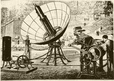 1882 Solar Powered Printing Press built by Abel Pifre. Image from Scientific American, May 1882 :: Land Art Generator Initiative