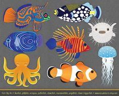 Colorful Fish Clip Art lionfish octopus triggerfish by VizualStorm