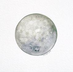 Luna 4 - Original Contemporary Minimalist Watercolor Moon Painting - by Natasha Newton