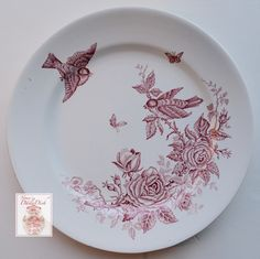 Antique Red Transferware Faience Plate Sparrows / Lovebirds Butterflies & Roses