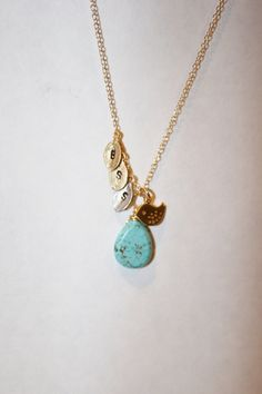 mothers, family necklace, personalized  family tree necklace gold initial charms, bird and turquoise drop  new moms, gift for grandmother. $40.00, via Etsy.