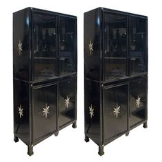 Bar?  Pair of Black Lacquered Steel Vitrine Cabinets with Stars