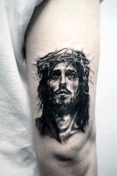 Hand Tattoos, Body Art Tattoos, Tattoo Drawings, Portrait Tattoos, Jesus Hand Tattoo, Jesus Tattoo Sleeve, Jesus Drawings, Tattoo Ink, Trendy Tattoos
