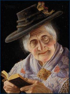 O cão que comeu o livro...: A leitora velhinha de Christian Heuser / Old woman reading by Christian Heuser