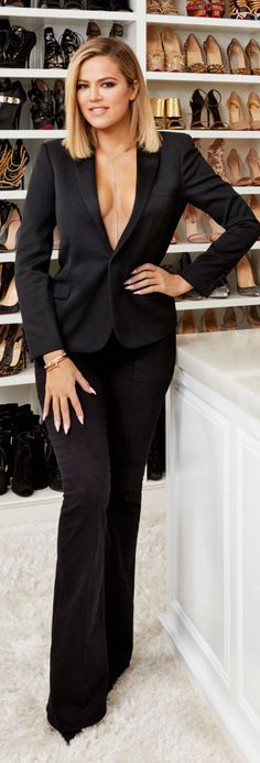 Khloe Kardashian: Necklace – Monica Rose  Jacket – Saint Laurent  Bracelet – Cartier  Jeans – Frame