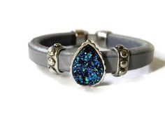 Leather bracelet blue druzy drusy silver boho by TheRottenRooster,