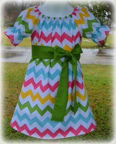 Custom Boutique Clothing Girls Multi Color Chveron Easter Spring Peasant Dress, Size 3mos to 8yr. via Etsy.