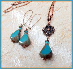 Czech Glass Jewelry Set Turquoise Glass Earrings by lyrisgems, $36.00