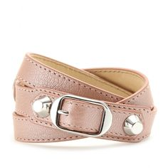 Balenciaga Double Leather Wrap-Around Bracelet #allinthewrist #accessories #balenciaga