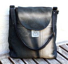 Handmade Leather Bag, Hobo Bag, Recycled Leather Bag, Faded Leather, Leather…
