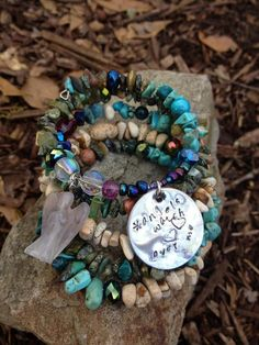 Angels Watch Over Me five wrap memory wire by DFInspirations, $45.00
