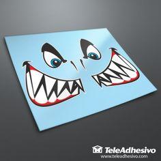 Pegatina Kit boca y ojos tiburón