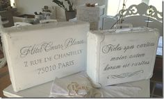 Vintage Suitcases painted and french stenciled or image transfer done.