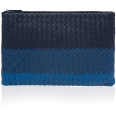 Bottega Veneta Intrecciato Zip Clutch ($967) ❤ liked on Polyvore featuring bags, handbags, clutches, blue handbags, real leather purses, blue leather handbags, ipad purse and blue clutches
