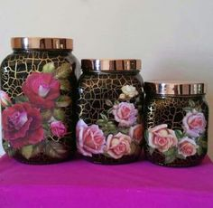 1 million+ Stunning Free Images to Use Anywhere Recycled Glass Bottles, Glass Bottle Crafts, Diy Bottle, Bottle Art, Decoupage Jars, Decoupage Vintage, Bottles And Jars, Glass Jars, Painted Clay Pots