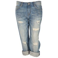 Crafted Boyfriend Ripped Jeans (€6,57) ❤ liked on Polyvore featuring jeans, pants, bottoms, shorts, capris, womens jeans, blue jeans, blue capris, destruction jeans и destructed boyfriend jeans