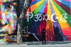 2014 Mural by Brazilian artist Eduardo Kobra  on the facade of the MAAM Museum.