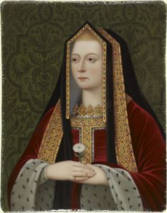 Elizabeth of York (1466 – 1503).  Daughter of Edward the IV and Elizabeth Woodville.  She was Queen consort of England to King Henry VII from 1486 until 1503.  They had 8 children, 4 of which survived.  She was the mother of King Henry VIII of England and grandmother of Elizabeth I.  She was a daughter, sister, niece, mother and grandmother of English monarchs as well as mother of Queens of Scotland and France.