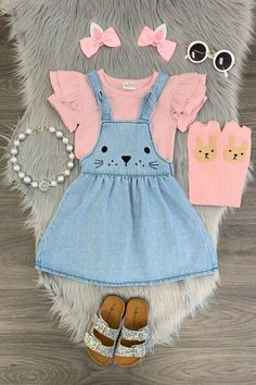 adf36aa8e Girls Denim Bunny Skirt Toddler Baby Denim Easter Bunny Boutique Dress  Jumper #SkirtOutfit #EasterEverydayHoliday. Girls Easter DressesGirls Party  ...
