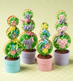 Cookie and Brownie Topiaries by Julia M. Usher. Photo by Steve Adams. From Julia M. Usher's Ultimate Cookies (Gibbs Smith Publisher)