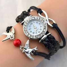 1.92$  Buy here - http://ali7dv.shopchina.info/go.php?t=32765135618 - 2016 New Arrival Women Bird Love Heart Multilayer Knitted Faux Leather Bracelet Wrist Watch 9RDO  #buymethat