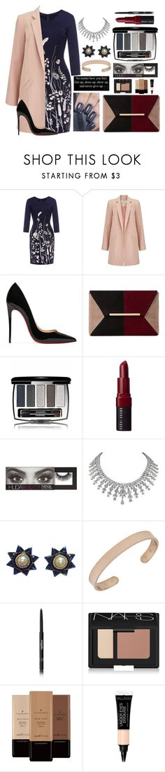 """Mrs. professional"" by dcxiong83 ❤ liked on Polyvore featuring Miss Selfridge, Christian Louboutin, Dune, Chanel, Bobbi Brown Cosmetics, Huda Beauty, Valentino, NARS Cosmetics and Illamasqua"