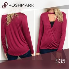 AVAILABLE Burgundy Choker Surplice Top Jersey Knit Choker Surplice Top Tops