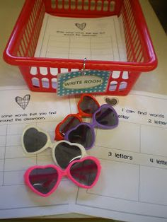 Love this idea. Have special sight words around the room for them to read with their special heart glasses