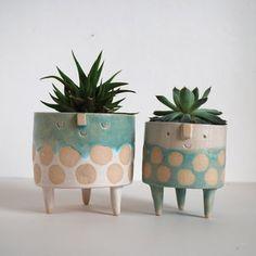 cutest little pots for plants - Atelier Stella ceramic artist Pottery Pots, Slab Pottery, Ceramic Pottery, Ceramic Plant Pots, Ceramic Flower Pots, Clay Planter, Clay Vase, Suculentas Diy, Keramik Design