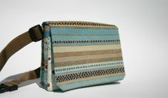 fanny pack made from recycled blue and brown striped cotton fabric