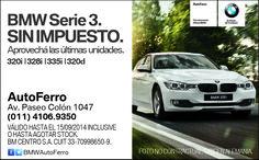 Este es nuestro aviso publicado en Ambito #BMW Serie 3 SIN IMPUESTO! OPORTUNIDAD ÚNICA. Te esperamos en AutoFerro Av Paseo Colón 1047