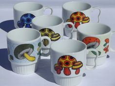 Retro Embroidery Ideas Photo of Magic mushrooms vintage ceramic cups w/ poison spotted toadstools